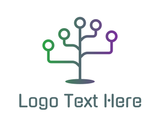 Online Learning - Computer Technology Plant Tree logo design