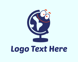 World Map - Globe Cartoon logo design