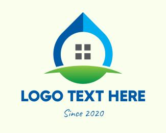 House - Eco Window Drop logo design