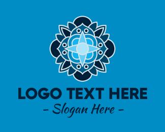 Yoga Center - Blue Flower Yoga Center logo design