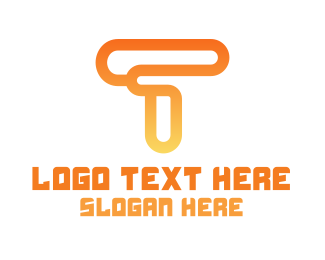 Hacking - Modern Orange T logo design