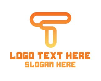 """Modern Orange Letter T"" by town"