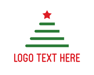 Green And Red - Christmas Tree logo design