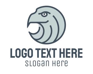 Orange Falcon - Eagle Head Emblem logo design