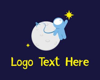 Floating - Moon Astronaut logo design