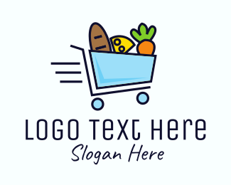 Grocery Store - Fast Grocery Shopping Cart logo design