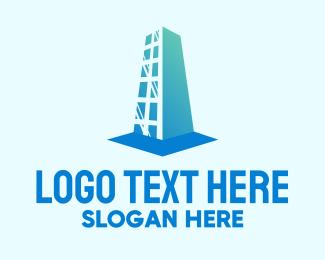 High Rise - Blue High Rise Building logo design