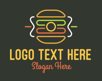 Eatery - Neon Sandwich Camera Monoline logo design