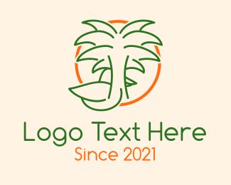 Bird - Tropical Palm Tree Duck logo design