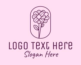 Purple Flower - Minimal Flower Emblem  logo design