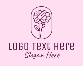 Emblem - Minimal Flower Emblem logo design