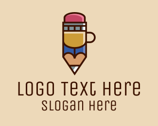 Coffee Maker - Pencil Coffee Cup  logo design