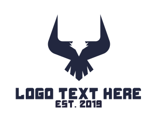 Peregrine - Geometric Eagle Horns logo design