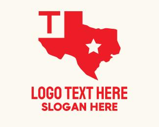 Texas - Red Texas State Map logo design