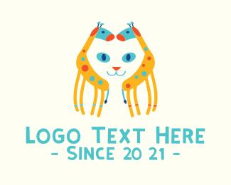 Giraffe - Colorful Cat Giraffe logo design
