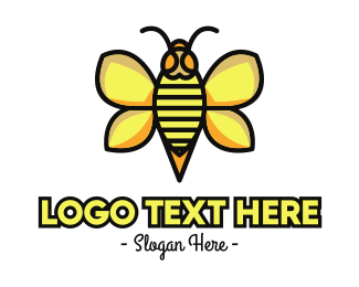 Yellow Insect - Yellow Wasp Outline logo design