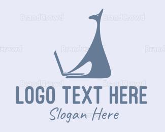 Social - Laptop & Giraffe Cartoon logo design