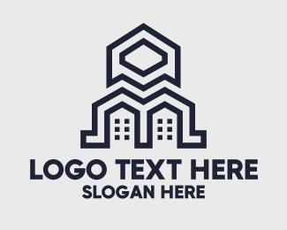 Build - Geometric Blue Buildings logo design