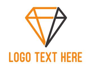 Gemstone - Modern Diamond Outline logo design