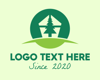 Pine - Green Pine Tree Home logo design