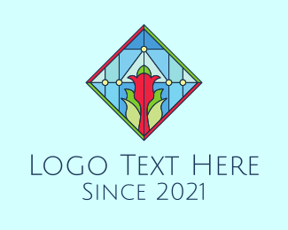 Multicolored - Floral Stained Glass Window logo design