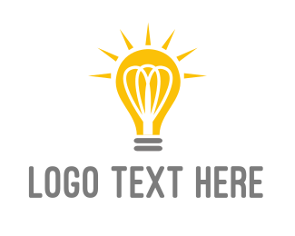 Think Tank - Bright Yellow Light Bulb logo design