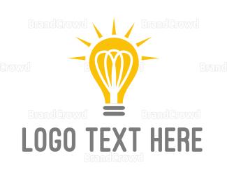 Bulb - Bright Yellow Light Bulb logo design