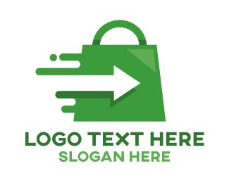 Quick - Green Fast Shopping logo design