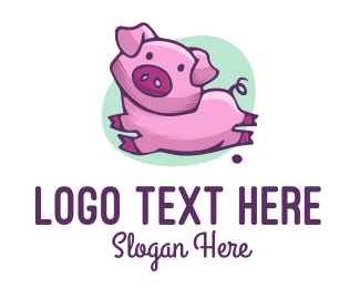 Cute Pink Pig Logo Maker
