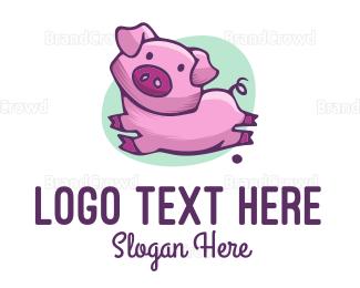 Farm - Cute Pink Pig logo design