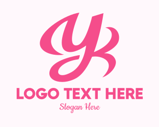 Millennial - Pink Cursive Letter Y  logo design