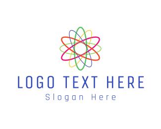 Scientist - Colorful Atom logo design