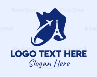 Commercial Plane - Blue Paris Tourism logo design
