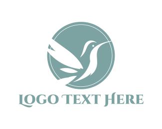 Colibri - White Hummingbird logo design