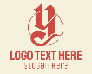 Guild - Red Blackletter Letter Y logo design