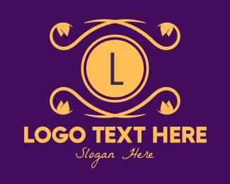 Plant Shop - Golden Ornamental Emblem Letter logo design