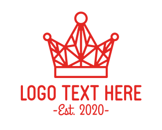 Shatter - Red Wireframe Crown logo design