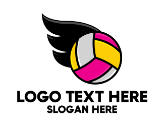 Tourney - Volleyball Wings logo design