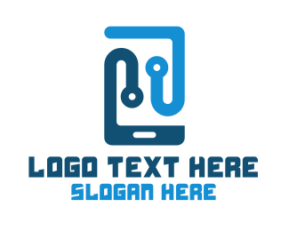 Mobile - Blue Mobile Tech logo design