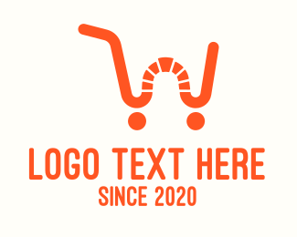 Mart - Orange Shopping Cart Letter W logo design