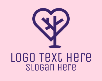 Online Dating - Romantic Heart Tree logo design