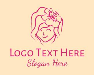 Hair Weave - Feminine Sunflower Girl logo design