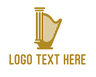 Harp - Golden Harp Pillar logo design