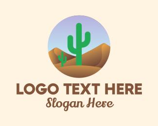 Sahara - Cactus Desert Landscape logo design