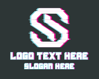 L - Letter S Glitch logo design