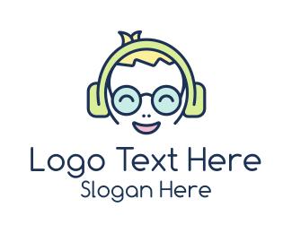 Mascot - Happy Boy Headphones logo design