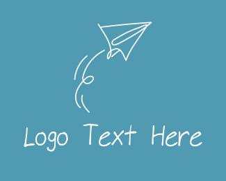 Paper Plane - Paper Airplane Doodle  logo design