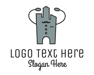 Teahouse - Skyscraper Waiter Robot logo design