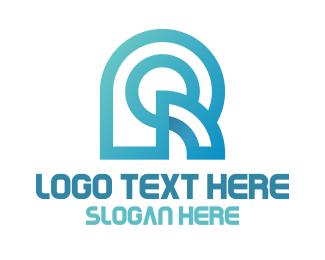 Pd - Blue Geometric R Monogram logo design