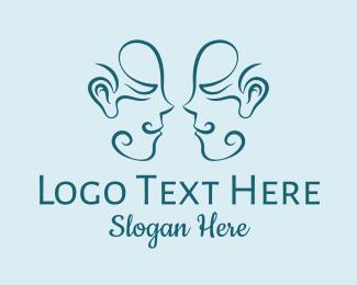 Model - Smiling Faces Line Art logo design